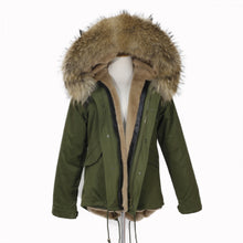 2019 CHRISTMAS SALE Raccoon Fur Parka Winter Jacket With Faux fur Inner Lining Natural
