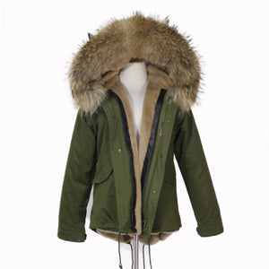 2018 CHRISTMAS SALE Raccoon Fur Parka Winter Jacket With Faux fur Inner Lining Natural