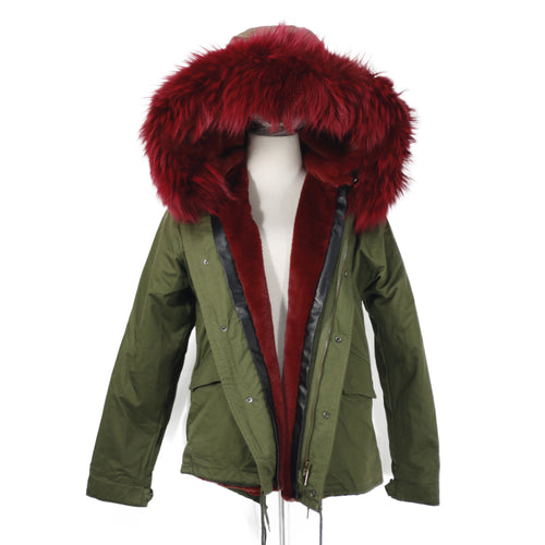 2018 CHRISTMAS SALE Raccoon Fur Parka Winter Jacket With Faux fur Inner Lining Red Wine