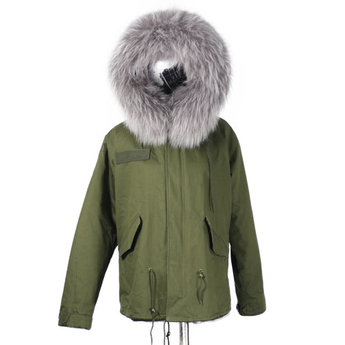 2019 CHRISTMAS SALE Raccoon Fur Parka Winter Jacket With Faux fur Inner Lining Grey
