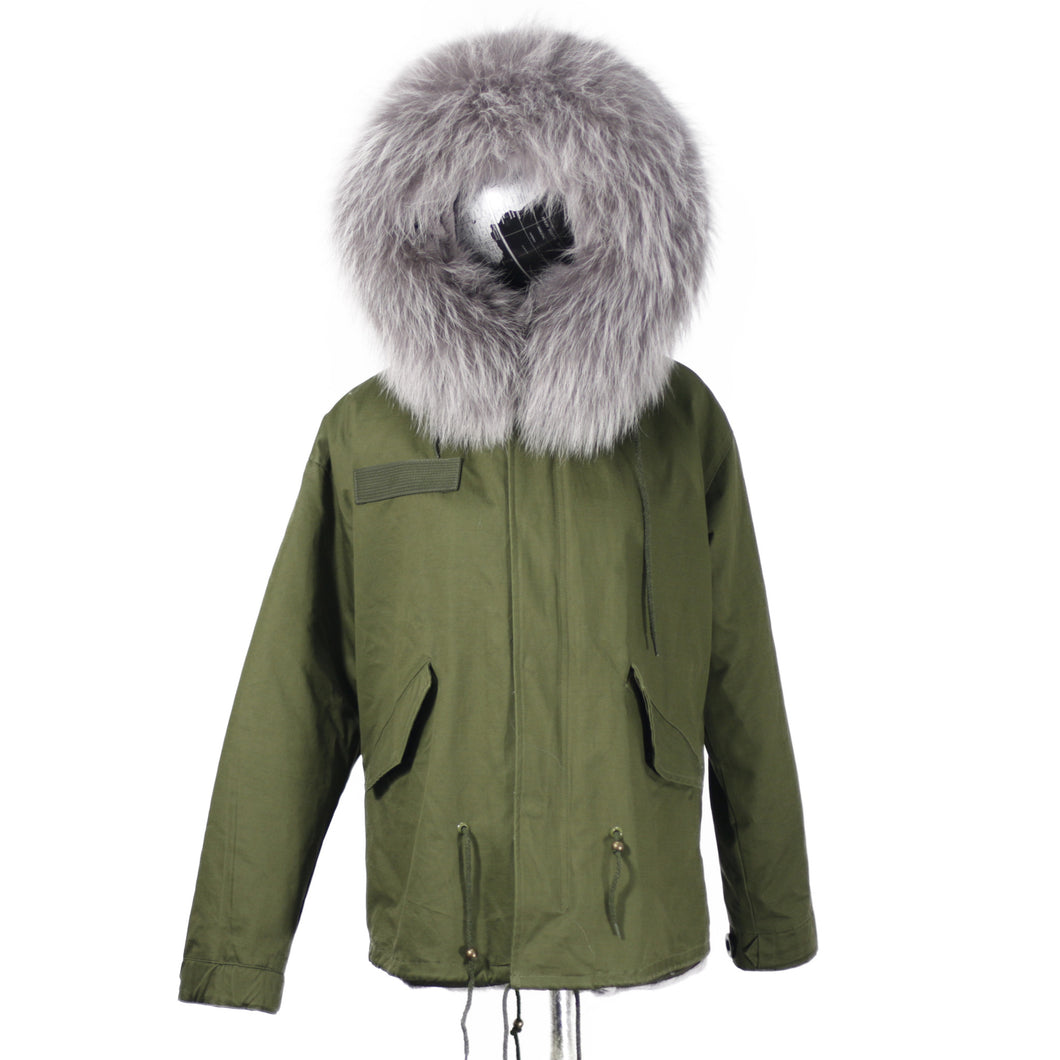 2018 CHRISTMAS SALE Raccoon Fur Parka Winter Jacket With Faux fur Inner Lining Grey