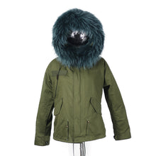 2017 CHRISTMAS SALE Raccoon Fur Parka Winter Jacket With Faux fur Inner Lining Green