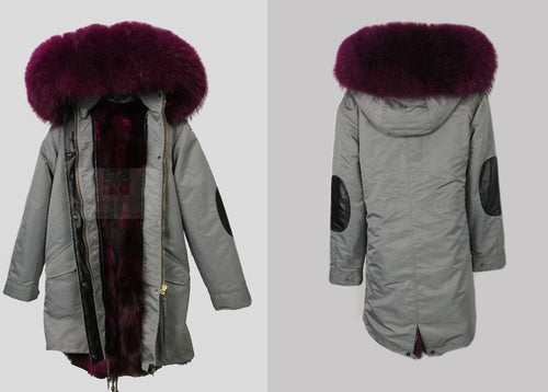 2017 Special Water Proof Midi Length Luxury Purple Frost Fox Fur Parka Coat Jacket With Grey Shell