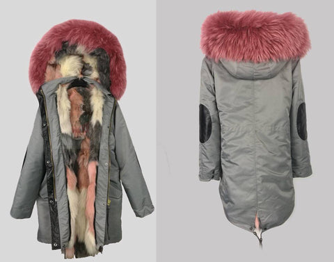 2017 Special Water Proof Midi Length Luxury Rainbow Fox Fur Parka Coat Jacket With Grey Shell