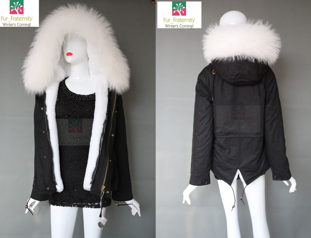 COST PRICE SIZE SMALL BLACK WITH REAL WHITE FUR