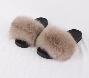2018 NEW summer  women's shoes real fox fur slipper women luxury indoor slides flats fluffy big fox sandals