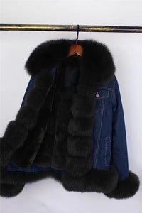 LATEST DENIM JACKET PARKA COAT WITH FOX TRIM AND RABBIT FUR LINING