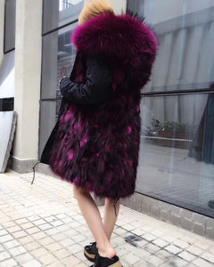 2018 Long Black with purple frost fox Fur invertible Parka