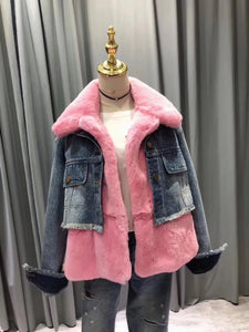 2018 Fur Fraternity Fuschia Denim Real fur Coats Designer Jacket