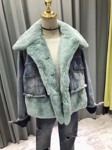 2018 Fur Fraternity Sky Blue Denim Real fur Coats Designer Jacket