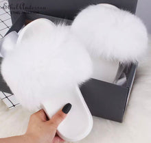 LATEST HIGH QUALITY FOX FUR SLIDES SHOES SLIPPERS IN ALL SIZES WHITE