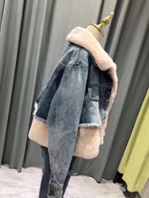 2018 Fur Fraternity Light Pink Denim Real fur Coats Designer Jacket