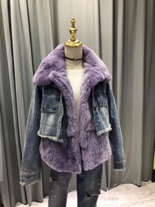 2018 Fur Fraternity Purple Denim Real fur Coats Designer Jacket