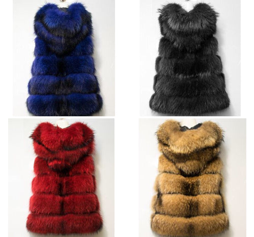 2018 New arrival women genuine raccoon fur vest with a hood, autumn winter fashion fur vests coat plus size