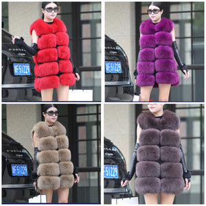 5 PANELS PURE FOX FUR FAMOUS MOST VEST COAT JACKET