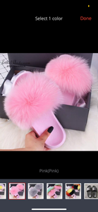 LATEST HIGH QUALITY FOX FUR SLIDES SLIPPERS SHOES IN ALL SIZES PINK