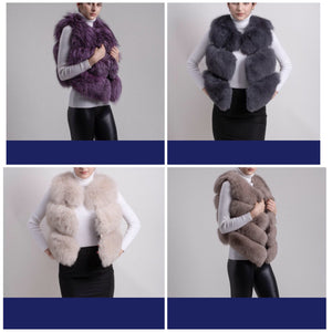 2018 All Colours Famous 3 Panels Best Price  New Natural Fox Fur long Vest Gillet Coat Winter For Women