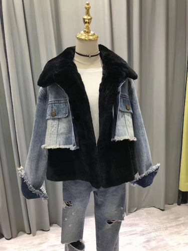 2018 Fur Fraternity Black Denim Real fur Coats Designer Jacket