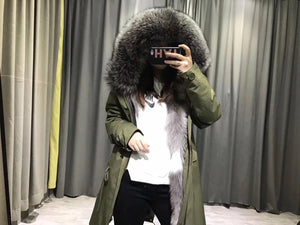 2018 LATEST PATCHWORK MR & MRS STYLE FOX FUR PARKA IN SILVER FOX FUR
