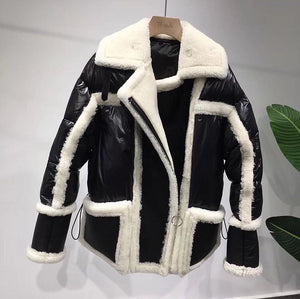 2018 Best Price New arrival Real SHearling sheep fur biker jacket genuine leather jackets Sheepskin wool Unisex Coat