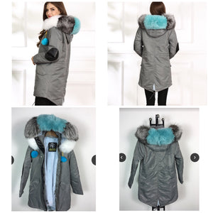WATERPROOF STYLE  MIDI FOX FUR COLLAR WITH FULL WARM LINING PARKA COAT BOMBER JACKET