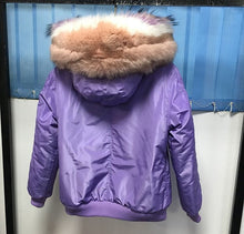LATEST FOX FUR COLLAR PURPLE BOMBER IN ALL SIZES PARKA COAT JACKET
