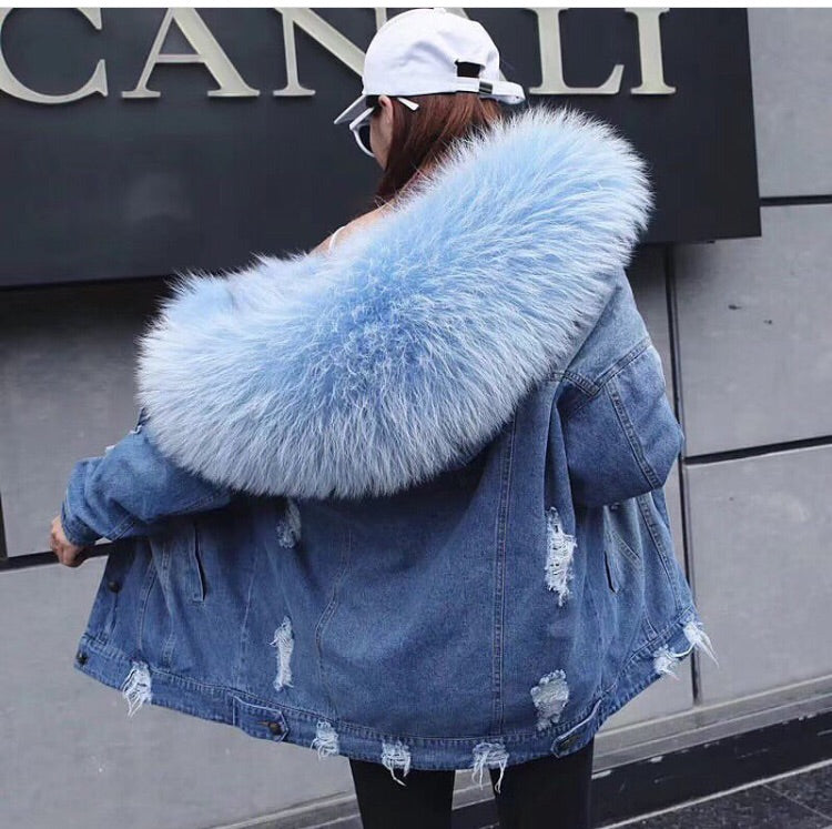 2019 High quality raccoon with fox fur jacket xs to 2xl