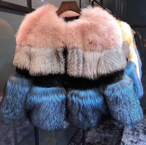 HIGH QUALITY REAL SILVER FOX FUR WINTER COAT JACKET MIMOSA