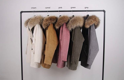 2018 Express Shipping high quality luxury corduroy jacket coat  with real Fur hood and Fur lining