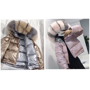 2019 LATEST REVERSIBLE FOX FUR HOODED FEATHER DOWN JACKET COAT PARKA ALL SIZES