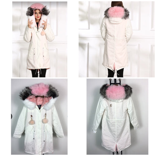 FURFRATERNITY LATEST LONG WHITE WITH MULTI FOX FUR PARKA COAT JACKET