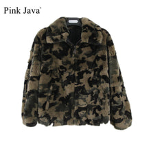 PINK JAVA QC1845 new arrival free shipping real  rex rabbit fur coat  women camouflage  jacket