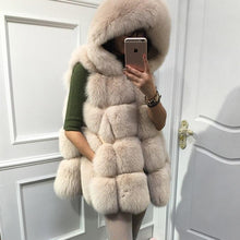 BEST PRICENEW SLEEVELESS FOX FUR VEST COAT GILLET HOODED