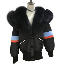 Huge luxury real fox fur collar fur parka for women 2018 runway brand design winter warm jacket