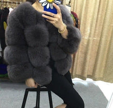 NEW 4 PANELS FOX FUR COAT VEST JACKET