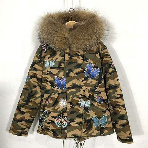 NEW CAMOUFLAGE PRINTED BUTTERFLY PARKA COAT JACKET WITH REAL RACCOON FUR