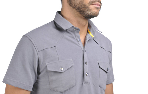 """Guayabera"" Polo Shirt in Stone Grey"