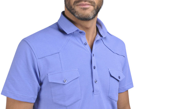 """Guayabera"" Polo shirt in Azure"