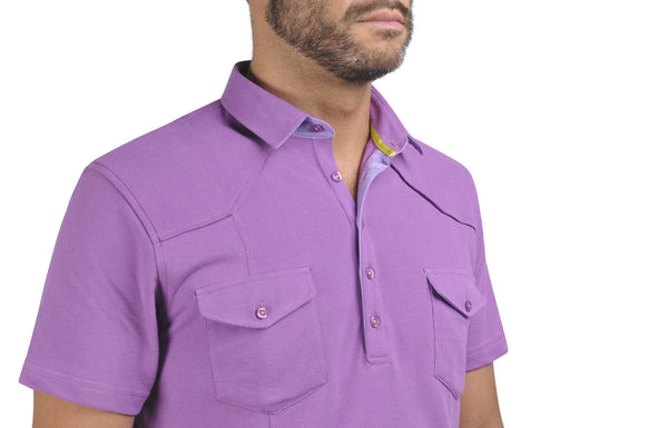 """Guayabera"" Polo Shirt in Lilac"