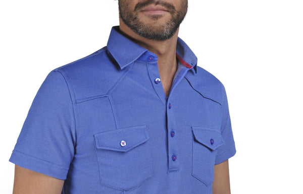 """Guayabera"" Polo shirt in Bleu de France"