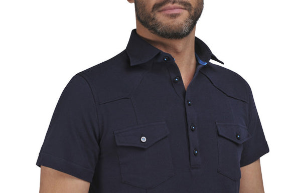 """Guayabera"" Polo shirt in Midnight Blue"