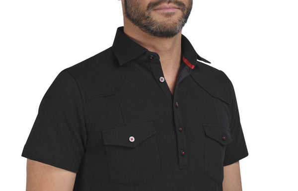 """Guayabera"" Polo shirt in Black"