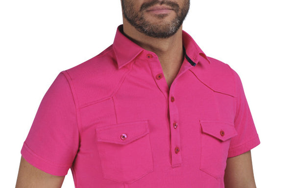 """Guayabera"" Polo shirt in Radiant Orchid"