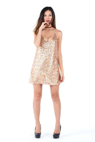 ALLIE - Coral Sequins Dress