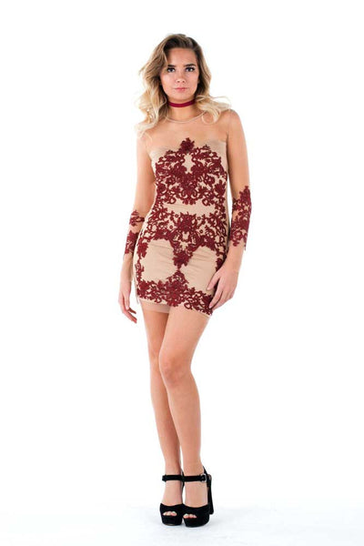 NATALIE - Burgundy Lace Nude Dress