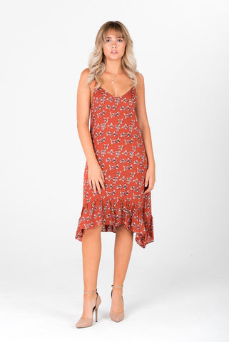 AUTUMN- Red Floral Dress