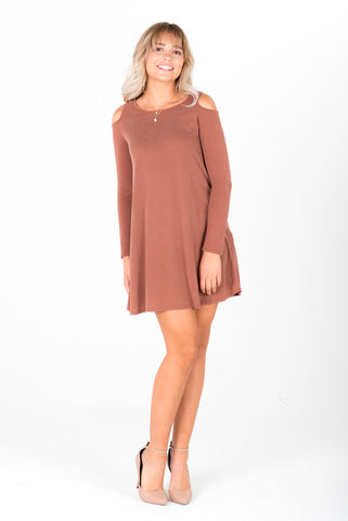 BETTY - Tan Open Shoulders Dress