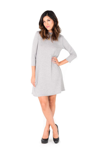 SOPHIE - Gray Knit Pocket Dress