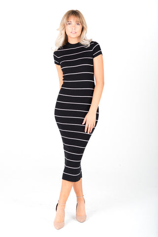 CHRISTY - Striped Knit Midi Dress