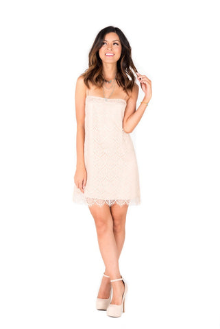 EMILY - Cream Lace Slip Dress